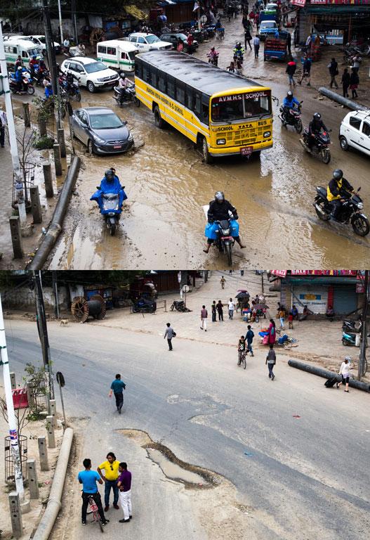 différence de circulation lors des élections locales de Katmandou