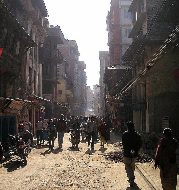 route dans le centre de Katmandou Népal